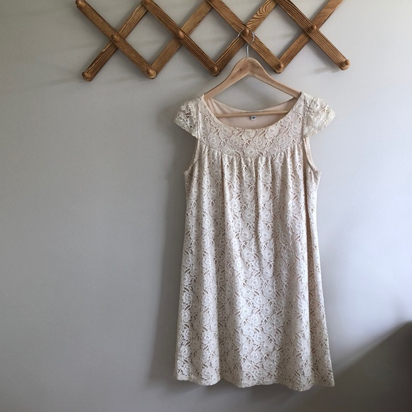 Velvet Torch Dresses & Skirts - Cream Lace Sleeved Dress
